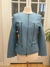 Beautiful Stylish Prague Women's Leather Jacket Soft Lamb Light Blue Size M, New