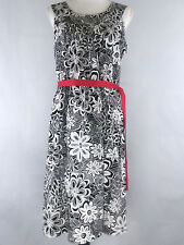 Hanna Andersson Womens Dress 14 Floral Black White Belted Red Ribbon Sleeveless