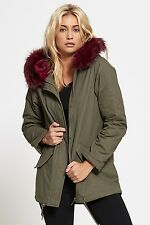 Brave Soul Ladies Oversized Colour Pink Blue Fur Parka Jacket Coat( PANTHERPKA)