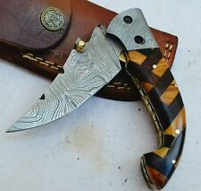 American Pit Bull Forged Damascus Steel Folding Knife With Leather Sheath Fk828