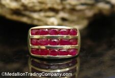 3 Carat 14k Yellow Gold Channel Set Red Ruby Stripe Wide Band Size 8.5 Ring