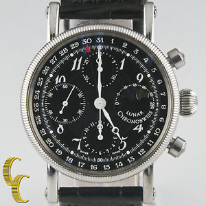 Chronoswiss Lunar Chronograph Stainless Steel Men's Watch Leather Band