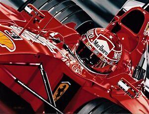 Michael Schumacher 90 x 70 cms limited edition F1 art print by Colin Carter
