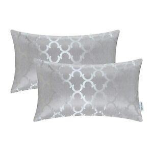 2Pcs Rectangle Pillows Cases Shells Cushion Covers Quatrefoil Accent Car 30x50cm