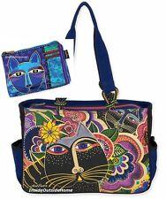 Laurel Burch Carlottas Black Cats in Garden Medium Large Tote +Blue Makeup Bag