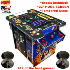 HUGE 22 inch screen CLASSIC ARCADE COMMERCIAL COCKTAIL TABLE 412 in1 + 2 STOOLS