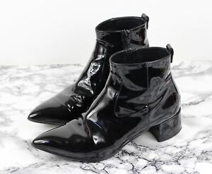 RUSSELL & BROMLEY IMPACT Black Patent Leather Ankle Boots, Size UK 5.5 / EU 38.5