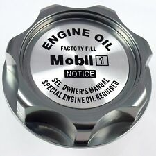 M7 New Gunmetal Engine Oil Filler Cap With Mobil One Emblem For Honda & Acura