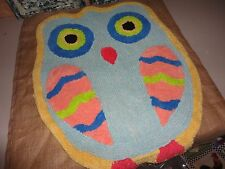 BED BATH BEYOND WHAT A HOOT OWL THROW RUG 23.8 X 30 COTTON LATEX PINK YELLOW