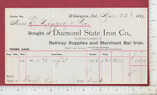 9399 Diamond State Iron Co Nov. 22 1884 billhead railroad supplies Wilmington DE