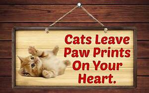 """174HS Cats Leave Paw Prints On Your Heart 5""""x10"""" Aluminum Hanging Novelty Sign"""