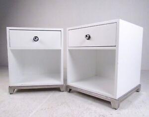 Pair Contemporary Modern Chrome Base Nightstands (7154)JR