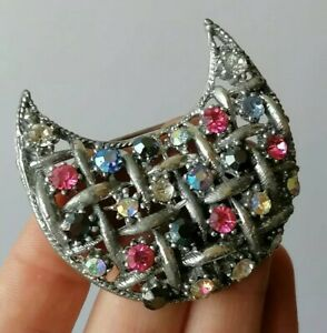 Vintage Cresent MOON Silver Tone Basket Weave Crystal Rhinestone 50s Pin Brooch