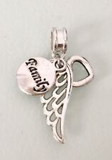 Love And Family Angel Wing Feather Heart Pendant Charm Silver Plated