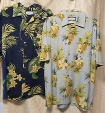 Steven Palm lot of two 100% silk Hawaiian shirts size M  blue prints pre owned
