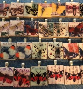 LOT 34 BUTTERFLY Scrabble Tile Art Pendant Charms Gift Wholesale Stamp Fun #6