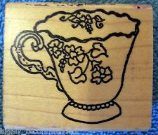 "Flowered Teacup by Me & Carrie Lou Wood Mounted Rubber Stamp 2"" x 1-3/4"""
