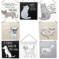 Cute Novelty Dog Cat Wooden Hanging Plaques Black White Home Decor Square Signs