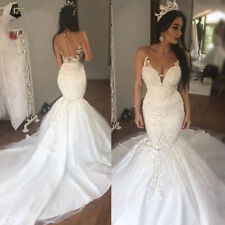 Sheer Neck Wedding Dresses Mermaid Beaded Bridal Gowns White Ivory Applique Lace