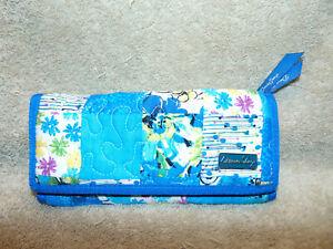 DONNA SHARP Quilted Clutch Wallet Blue Patchwork