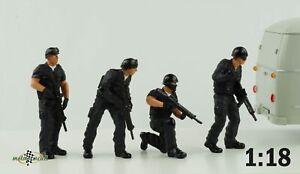 Figurine Swat Team Police Series Set 4 Figurines 1:18 American Diorama