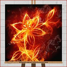 """Fire Flower Lilly Lily Rose Framed Box Canvas Print Picture 20""""x20"""" Red Orange"""