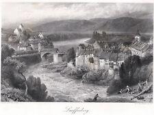 LAUFENBURG (AG Schweiz/ Baden) sehr schöne Ansicht Stahlstich 1880 ORIGINAL!