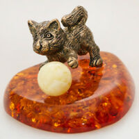 Kitten Figurine Handmade Brass & Natural Amber. Cute Cat Sculpture Mini Size
