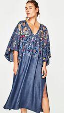 ZARA Boho Embroidered Kimono Kaftan  Dress Size S/M 10/12/14 Bloggers  Genuine