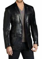 Classic Men's Genuine Lambskin Real Leather Blazer TWO BUTTON Coat Black Jacket