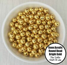 50PC 8mm Acrylic Beads Round Bright Gold Spacer Bead Shiny Plastic Bubblegum DIY