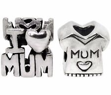 Sterling Silver RHONA SUTTON I LOVE MUM Charm bead SET OF TWO SOLID CHARMS