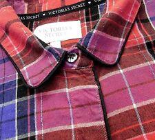 Victoria's Secret Night Shirt M Pink & Purple Plaid Flannel Pajama Top Sleepwear
