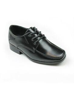 NEW Boys Black Shoes Wedding Communion School Smart Lace Up