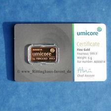 Goldbarren 5g 5 Gramm Gold 99,99 Umicore 5 grams gold bar neues Design Blister