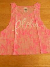 Victoria's Secret pink ALOHA tye dye tropical musscle Cropped Tank Top in bag