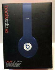 Beats By Dr. Dre Navy Blue Solo HD Wired Ear Headphones W/ Case/Cord/Manual/Box