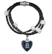 Detroit Tigers Black Leather Bracelet Heart Charm Girls Womens Crystal Jewelry