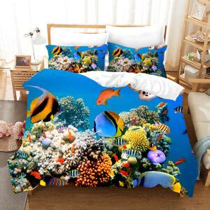 Coral Fish Underwater World Children Bedding Pillowcase Quilt Cover Duvet Cover