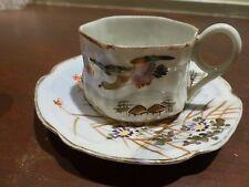 Superb Old japanese porcelain coffee cup saucer set, signed [Y8-W7-A9]