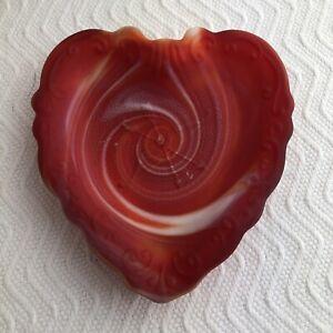 Imperial Red Slag Glass Cupid Bow & Arrow Heart Shape Ashtray Dish