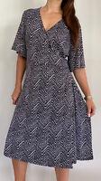 BELLE CURVE Black White Chevron Print Wrap Midi Dress Plus Size AU 22 Work Party
