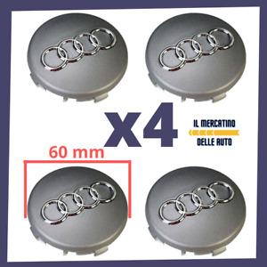 4 TAPPI COPRIMOZZO AUDI 60 mm 60mm BORCHIE CERCHI LEGA PER A1 A3 A4 A5 A6 Q5 Q7