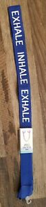 "New Yoga Mat Strap Carrier Sling Tote 50"" Royal Blue ""INHALE"" ""EXHALE"" Pilates"