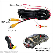 Car RCA Reverse Rear View Parking Camera Video Extension Cable 10M Reverse Wire