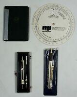 Vintage Pratt Whitney Pocket Handbook w/ Drafting Tools Compass Scale Model Set