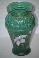 "Fenton Green Carnival Glass Hand Painted Lily Flower Designer Showcase 8"" Vase"