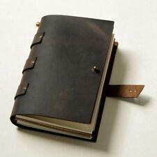 Vintage style gift Diaries Journals notebook genuine leather dark brown