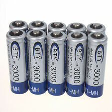 Hot 10pcs AA 3000mAh 1.2 V Ni-MH rechargeable battery BTY for RC Toys Camera MP3