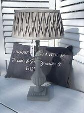 Tischleuchte Holz GREY ELEGANCE Lampe E27 GRAU Gewischt Shabby Vintage Landhaus